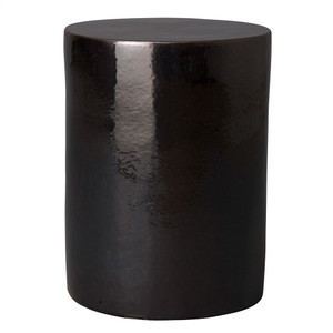 La Noche Stool Table 15 dia x 20 H inches Ceramic Black