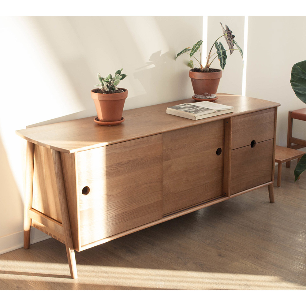 Woodbine Sideboard 20 x 62 x 26 H inches Solid White Oak Sienna Finish