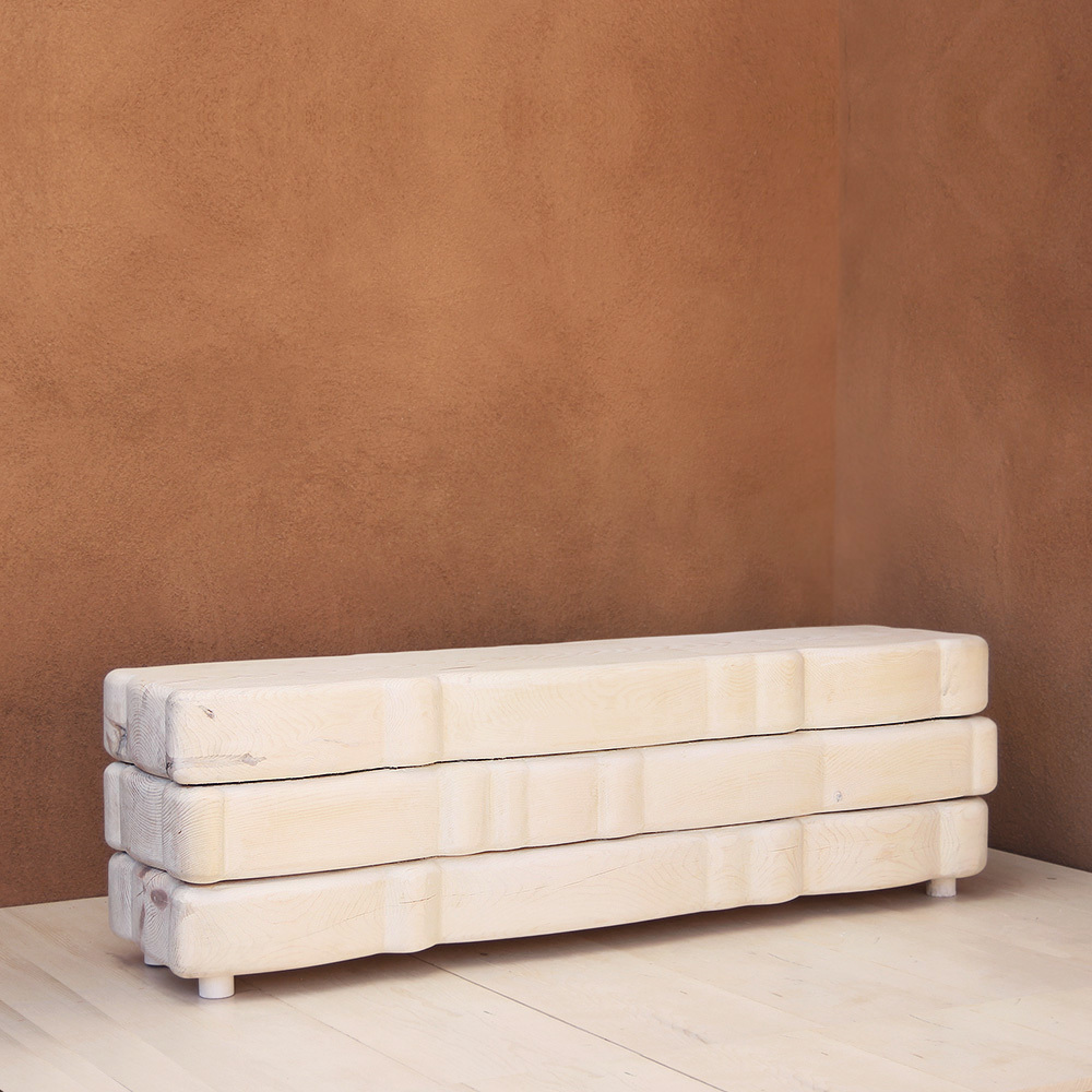 Nuage Solid Wood Bench 15 x 60 x 18 H inches White Wash Finish