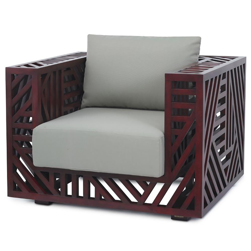 Ari Lounge Chair - 02-ARI CHR/DK 37.5 x 32.5 x 31 H inches, Seat 17 H inches Pine, Cotton