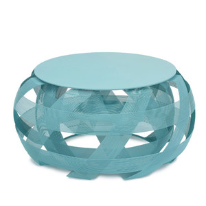 Trigono Stool 32 dia x 19 H inches Powder Coated Iron Wire Aqua