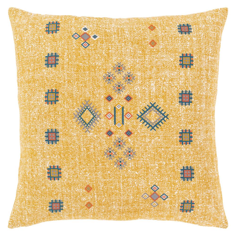Cactus Silk Throw Pillow - CCS-004 18 x 18 inches Cotton Yellow