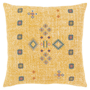 Cactus Silk Throw Pillow - CCS-004 18 x 18 inches Cotton Yellow