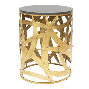 Suki Side Table - SUI-001 Painted wood  Gold leafed metal 18 dia x 23.5 H inches