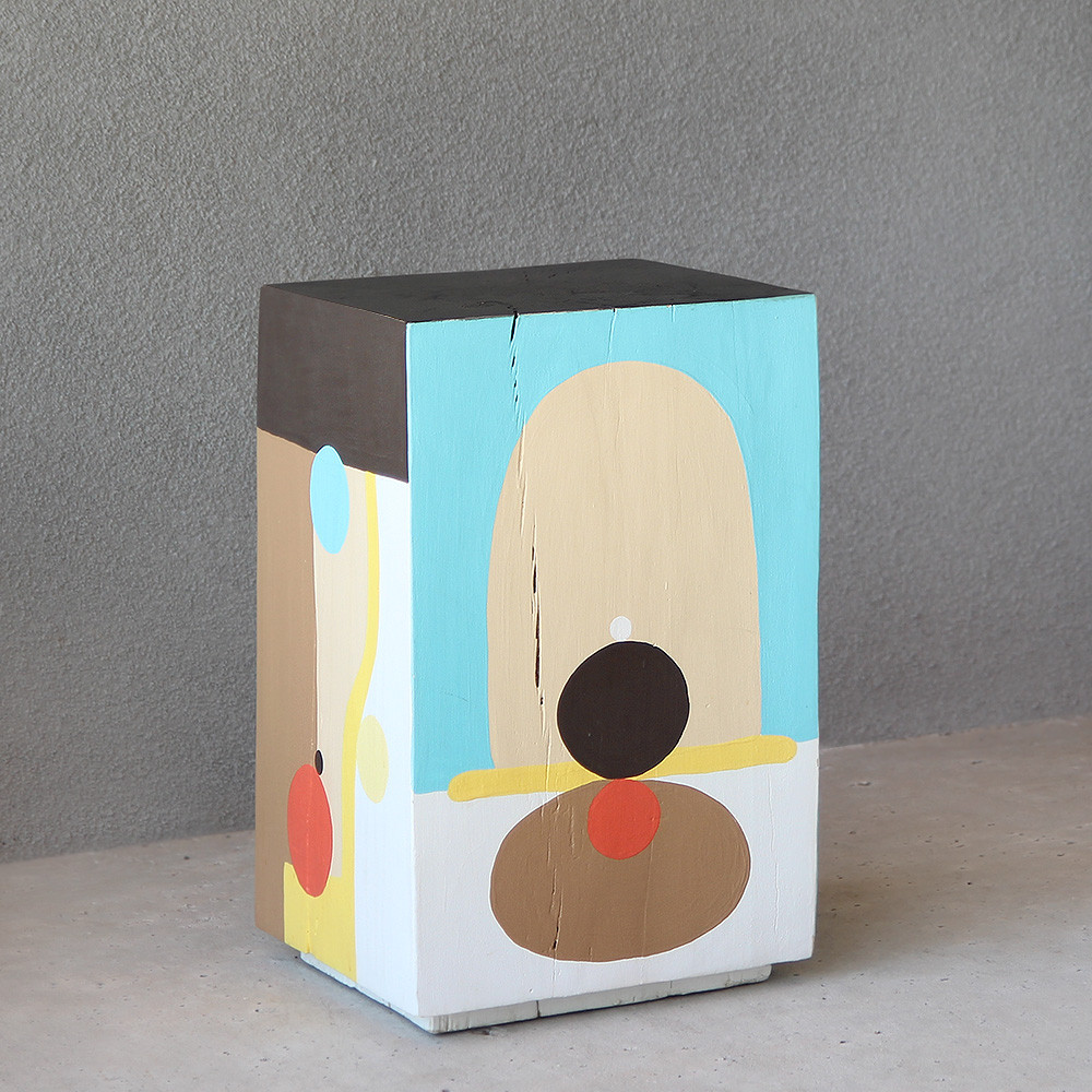 Rhythm Hand Painted Cube Table 12 x 12 x 19 H inches Pine, Acrylic Paint