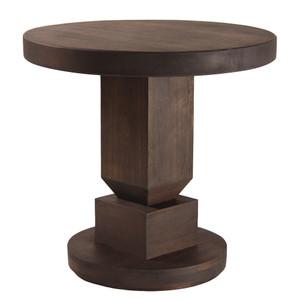 Nico Pedestal Table 30 dia x 29.5 H inches Spanish Cedar Pale Black