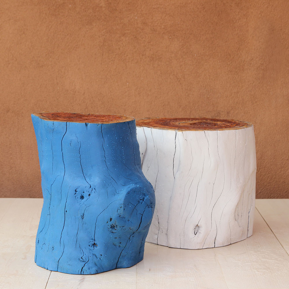 Chroma Outdoor Log Tables 12 - 16 dia x 20 H inches, 16-20 dia x 18 H inches Painted Blueberry, Painted Alabaster
