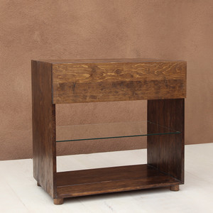 Carson Solid Wood Bedside Table 30 x 18.5 x 29 H inches Honey Brown Finish SealedTopcoat