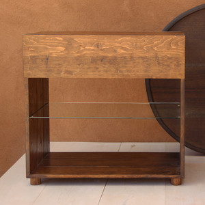 Carson Solid Wood Bedside Table 30 x 18.5 x 29 H inches Honey Brown Finish Sealed Topcoat