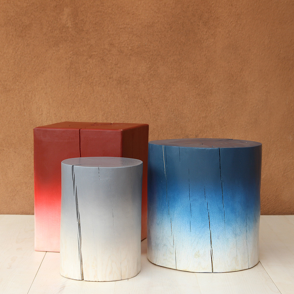 Ombré Painted Tables 12 dia x 16 H inches, 18 dia x 18 H inches and 15 x 15 x 20 H inches Blue Ombré, Grey Ombré and Red Ombré