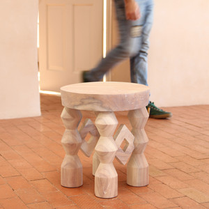 Surrealista Stool 16 dia x 18 H inches White Wash Finish Oiled Topcoat