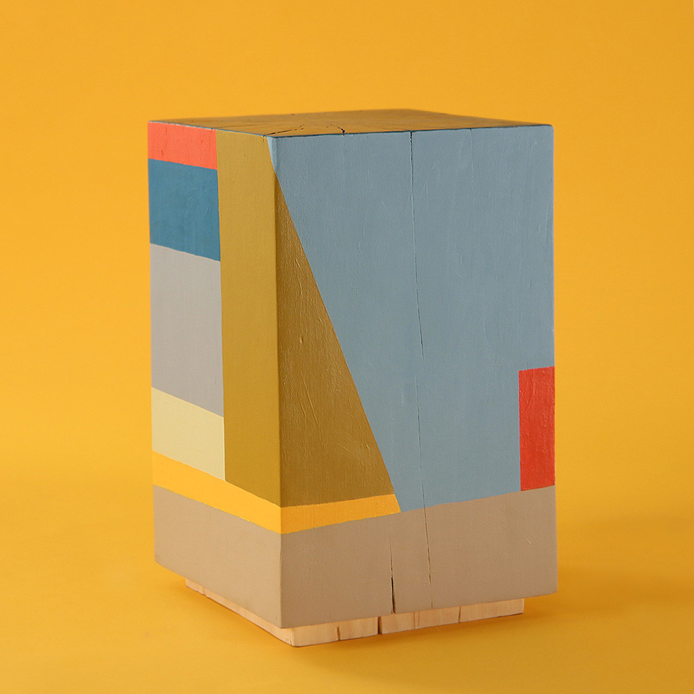 Geo Color Painted Cube Table 12 x 12 x 19 H inches Pine, Acrylic Paint