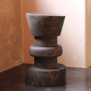 Jiro Turned Wood Counter Stool 15 dia x 25 H inches, 24 inch seat height Dark Walnut Finish Oiled Topcoat