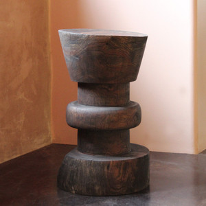 Jiro Turned Wood Counter Stool 15 dia x 25 H inches, 24 inch seat height Dark Walnut Finish