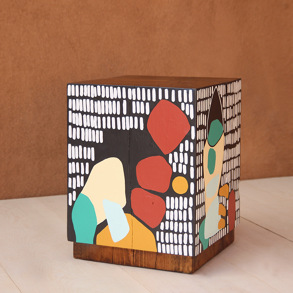 Banda Baako Hand Painted Cube 15 x 15 x 19.5 H inches