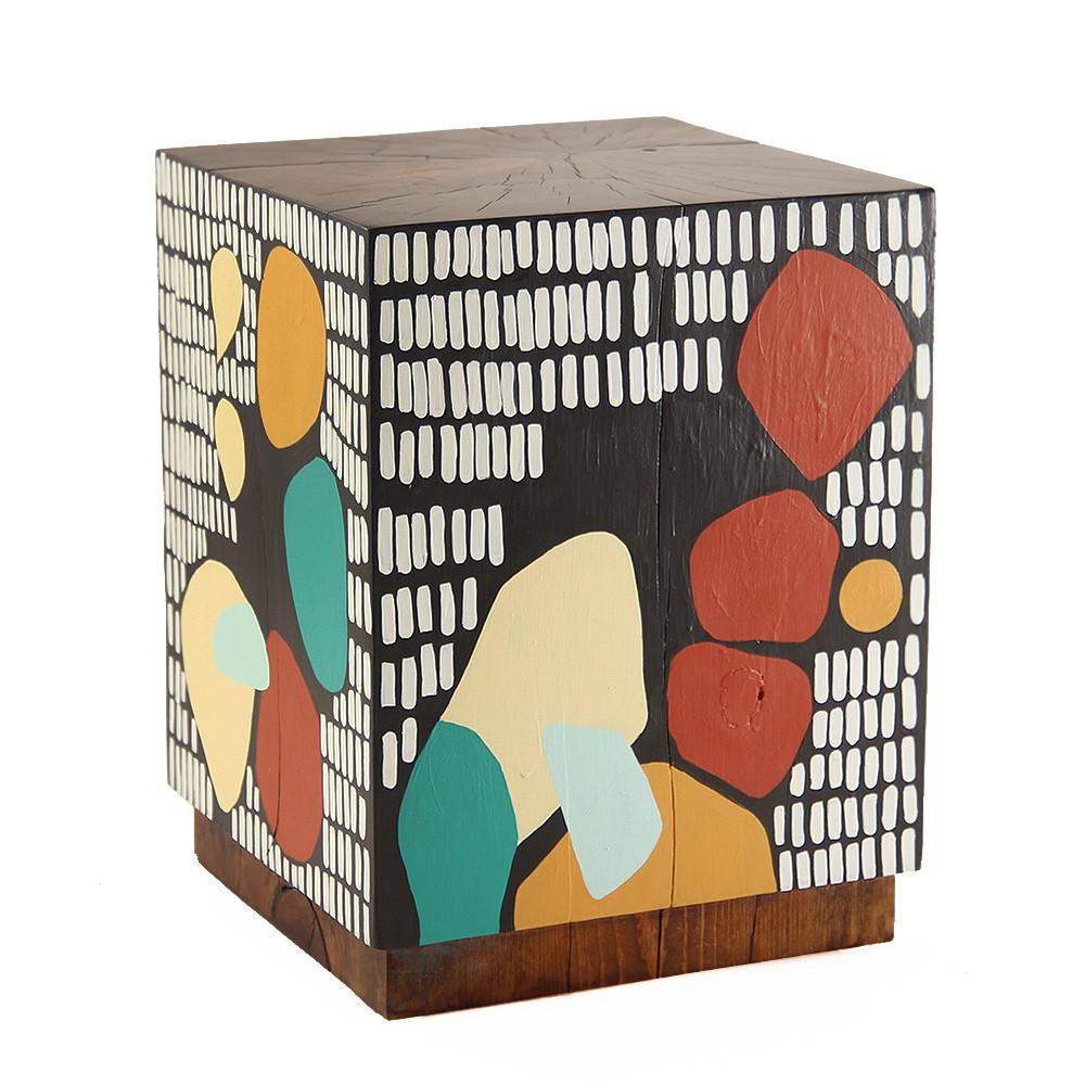 Banda Baako Hand Painted Cube 15 x 15 x 19.5 H inches