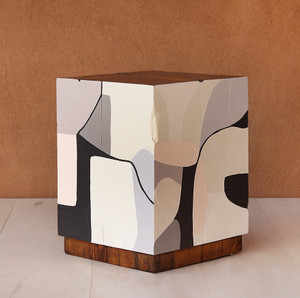 Etherealist Hand Painted Cube 15 x 15 x 19.5 H inches