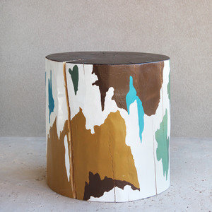 Terreno Hand Painted Log Table 12 dia x 22 H inches