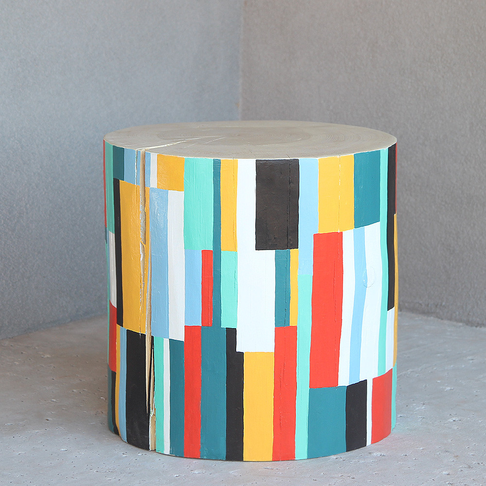 Color Block Modern Hand Painted Log Table 18 dia x 18 H inches