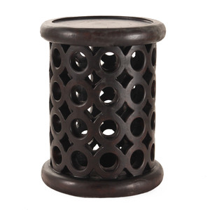 Tribalismo Bracelet Stool 13.5 dia x 18 H inches Espresso Finish Sealed Topcoat