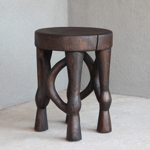 Tenzo Hand Carved Stool 13.5 dia x 18 H inches Espresso Finish Oiled Topcoat