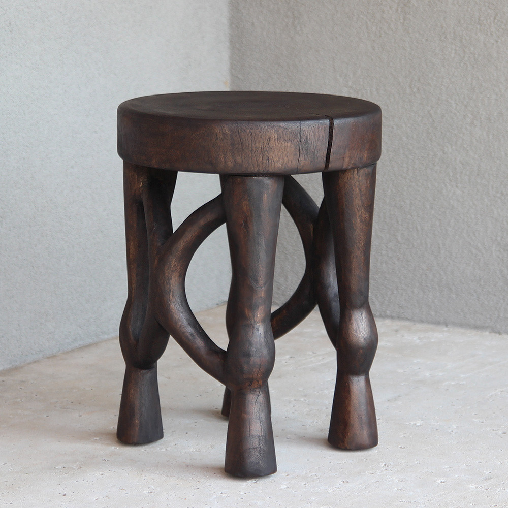 Tenzo Hand Carved Stool 13.5 dia x 18 H inches Espresso Finish