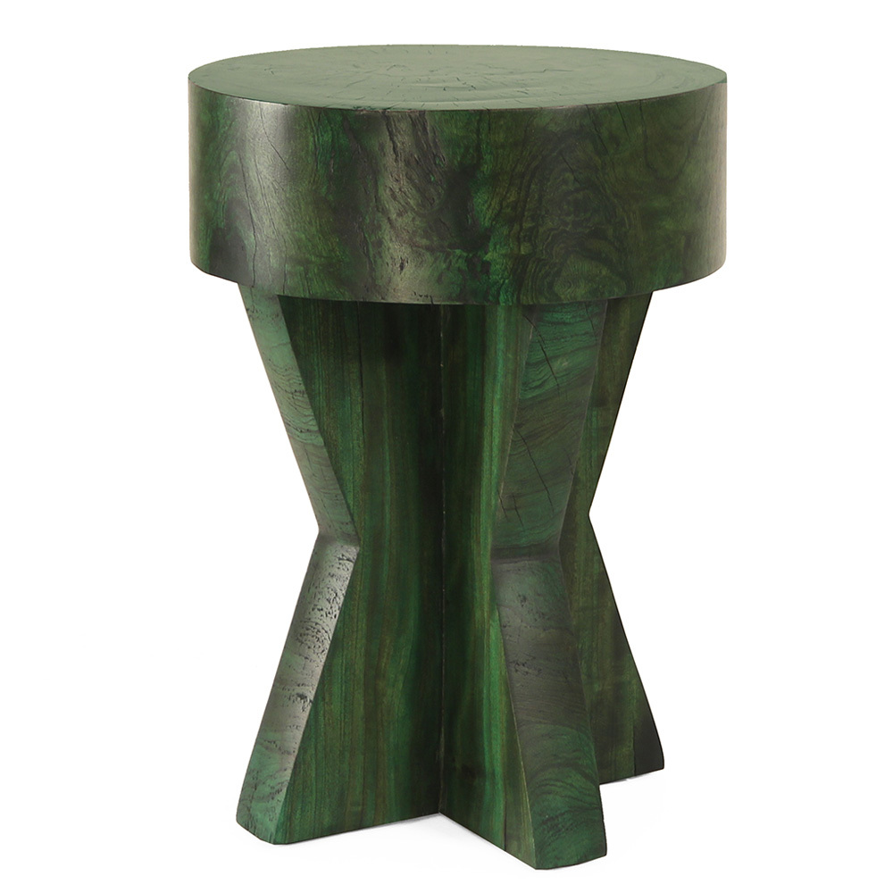 Granada Side Table 16 dia x 22 H inches Forest Green Finish