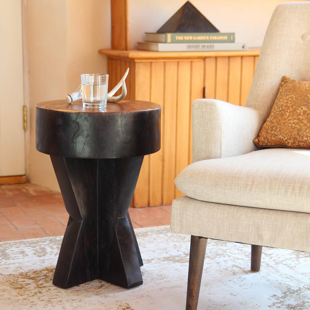 Granada Side Table 16 dia x 22 H inches Ebony and Natural Finish