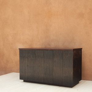Rienzo Fluted Wood Cabinet 60 x 21 x 29 H inches Espresso Finish