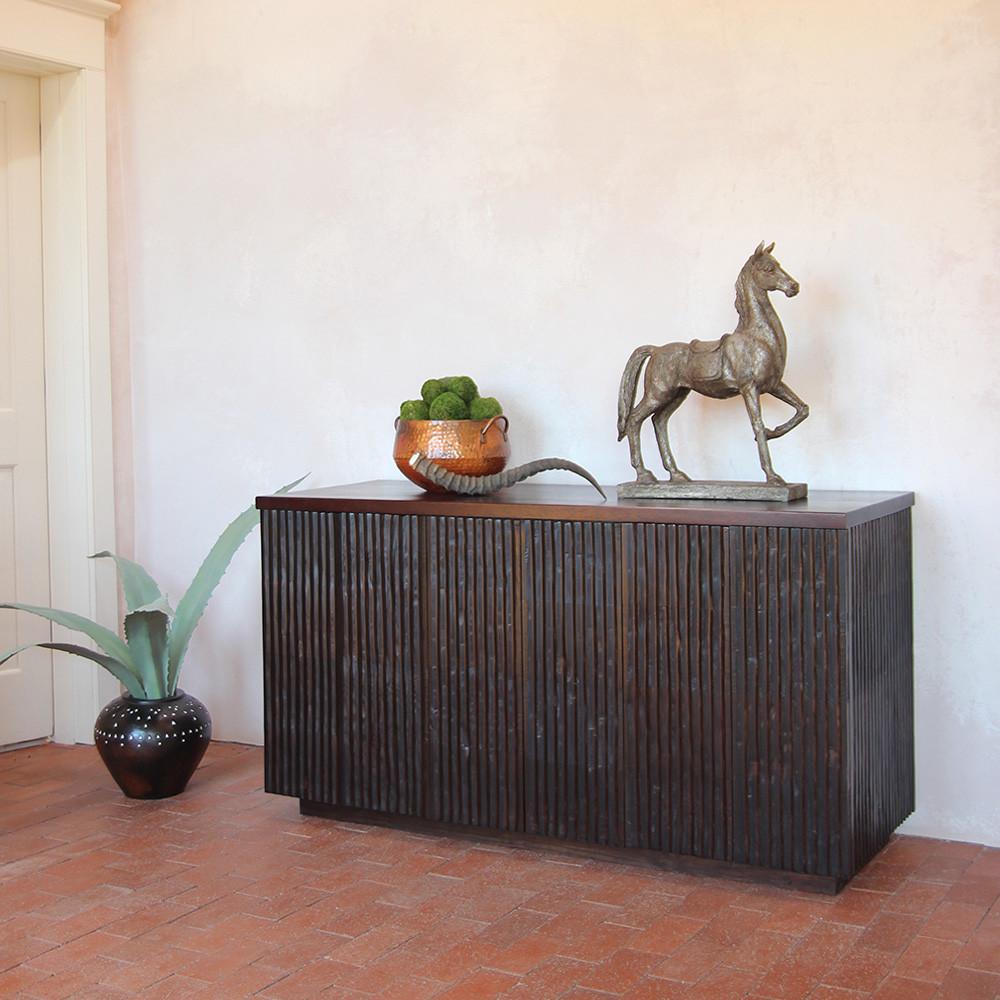 Rienzo Fluted Wood Cabinet 60 x 21 x 29 H inches Espresso Finish