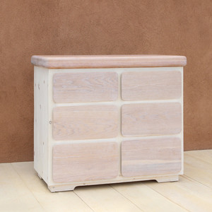 Paola Handmade Wooden Dresser 40 x 20 x 36 H inches Sugar Pine and Oak White Wash