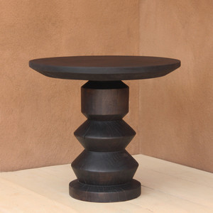 Alondra Turned Wood End Table 30 dia x 27 H inches Espresso Finish Oiled Topcoat