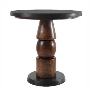 Lucius Bistro Café Table 30 dia x 30 H inches Ebony & Dark Walnut Finish Sealed Topcoat