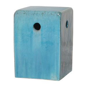 Tadeo Square Ceramic Stool Table  12.5 x 12.5 x 18 H inches Ceramic Sky Blue Glaze