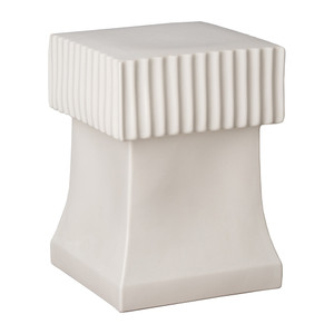 Alex Ceramic Square Stool Table 14 x 14 x 18 H inches Ceramic White Glaze