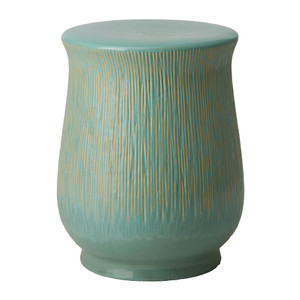 Chalice Ceramic Stool Table 14 dia x 18 H inches Ceramic Teal Glaze
