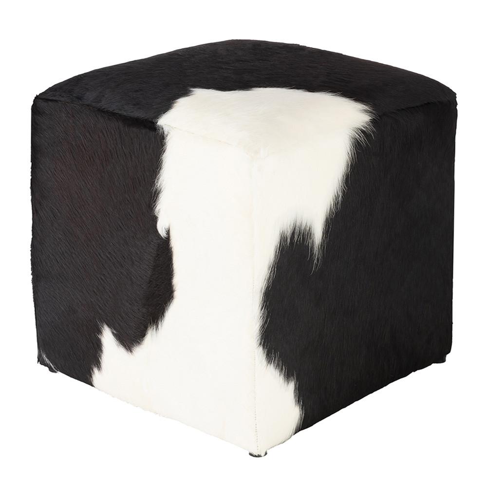 Noir et Blanc Hide Pouf - AGPF-003 18 x 18 x 18 H inches Cowhide