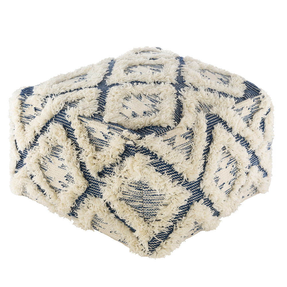 Azul y Blanco Pouf - APPF-004 22 x 22 x 14 H inches Wool, Cotton