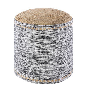 Eros Pouf - KAPF-002 18 dia x 16 H inches Cotton, Jute Black & White Mix