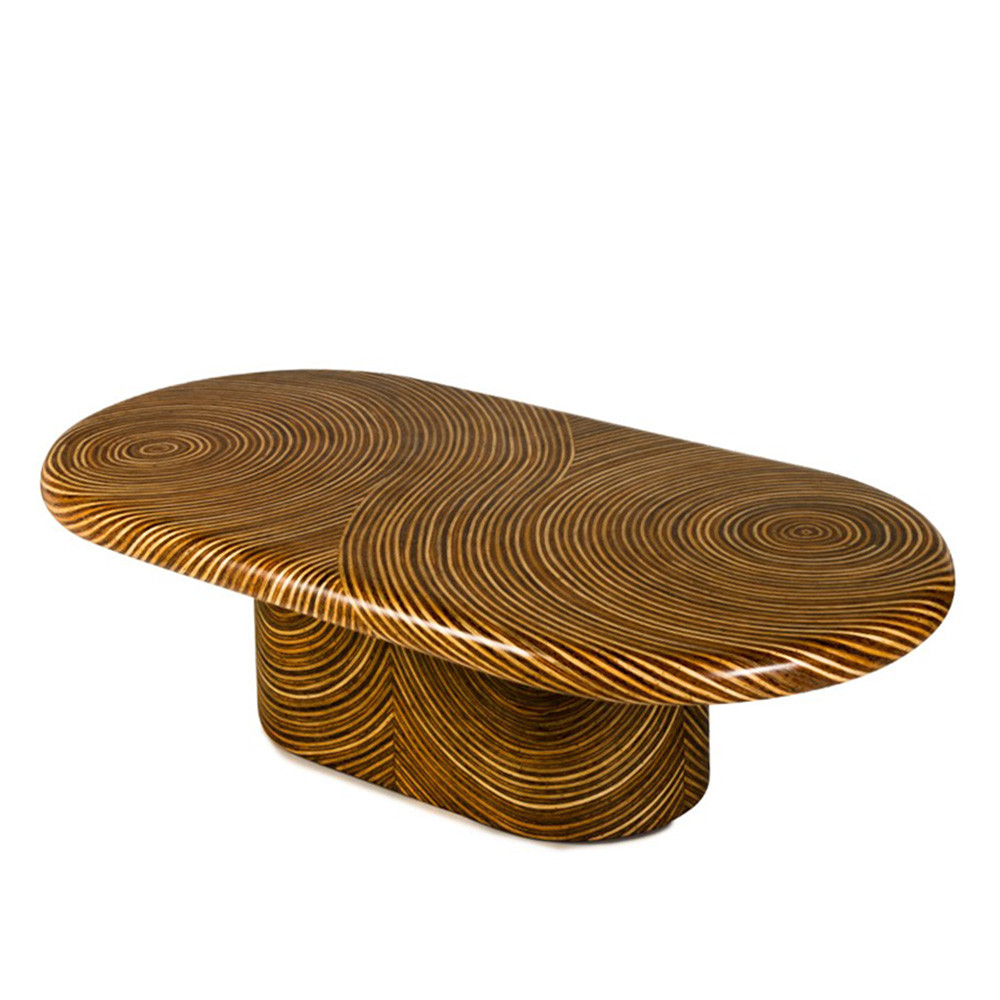 Showtime Oval Cocktail Table 60 x 30 x 16 H inches Plywood frame with veneer finish