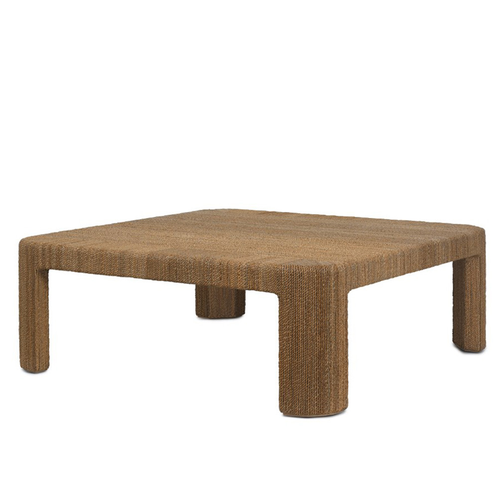 Corso Cocktail Table 43.5 x 43.5 x 16.5 H inches Rope wrapped wooden frame