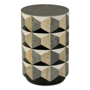 Milano End Table 16 dia x 22 H inches Fossilized Stone Veneer
