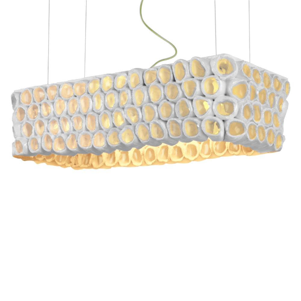 Reef Rectangular Pendant Lamp 28 x 13 x 7.5 H inches or 38.5 x 16 x 10 H inches Ceramic