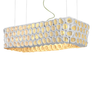 Reef Rectangular Pendant Lamp 28 x 13 x 7.5 H inches or 38.5 x 16 x 10 H inches Ceramic