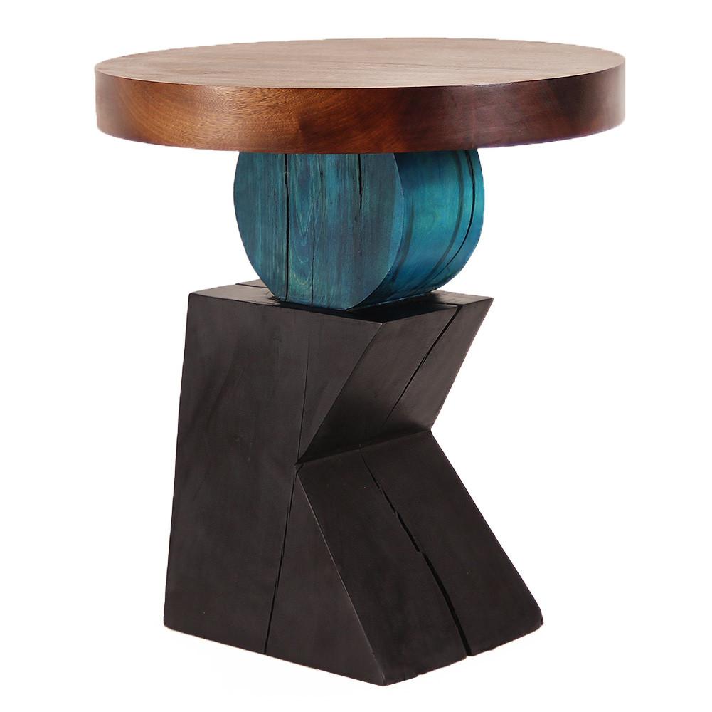 Lazlo Sculptural End Table 24 dia x 26.75 H inches Spanish Cedar, Pine Azure Blue, Ebony