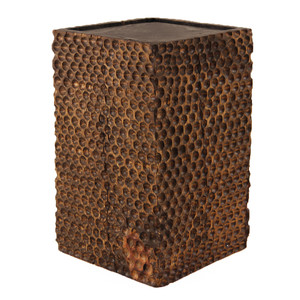Tallado Wooden Cube Table 15 x 15 x 24 H inches Honey Brown Finish Oiled Topcoat