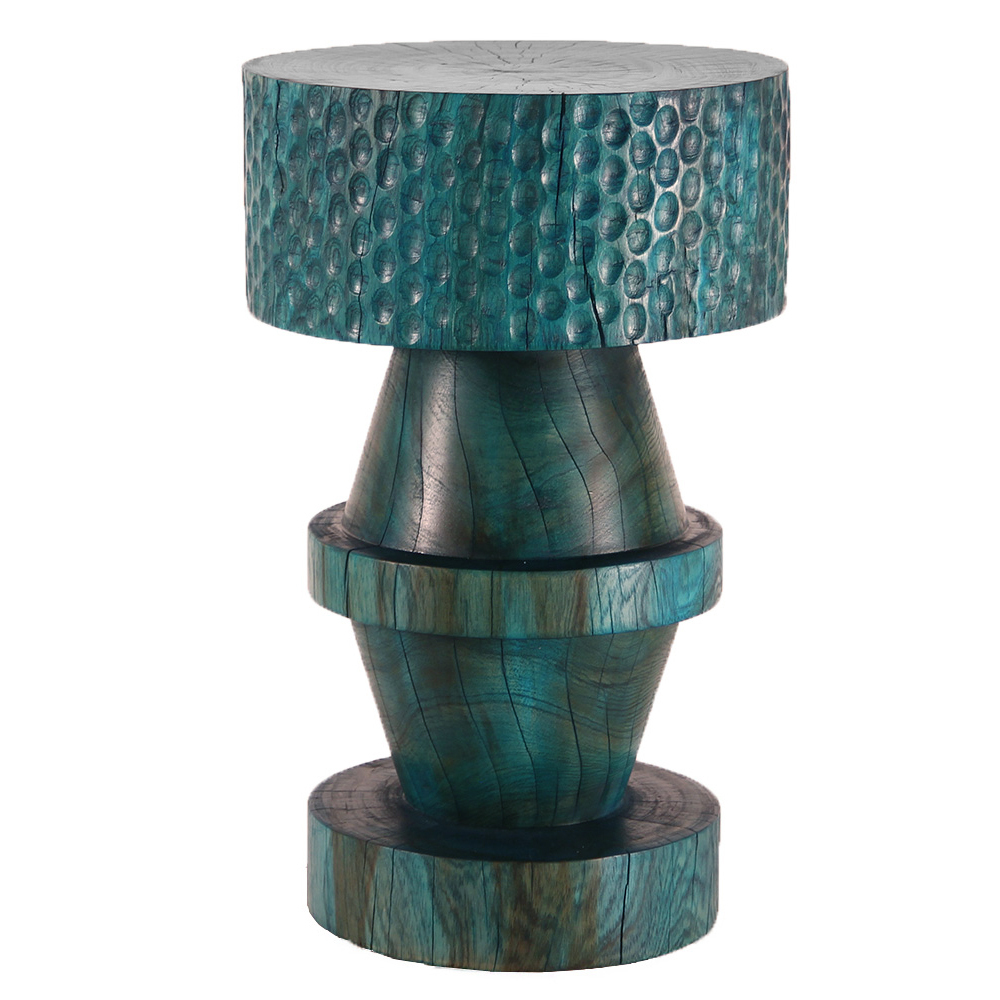 Dario Side Table 14 dia x 22 H inches Azure Blue Finish