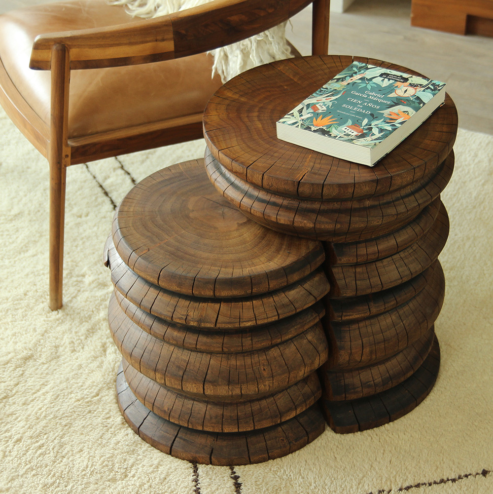 Andra Turned Wood Nesting Tables 24 x 16 x 20 H inches Light Walnut Finish