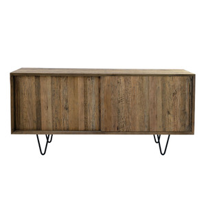 Gramercy Smoked Oak Credenza 59 x 17.75 x 27.25 H inches  Smoked Oak Veneer, Iron