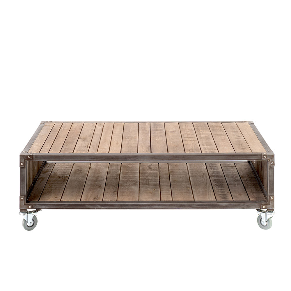 Akato Reclaimed Wood Coffee Table 47.25 x 23.75 x 14.5 H inches 100% FSC Certified Reclaimed Wood, Iron